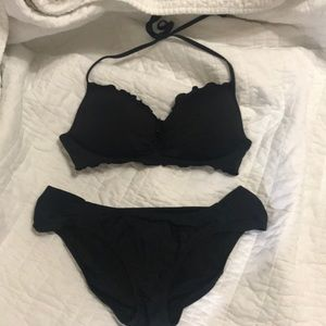 Sweet black bikini with push-up halter